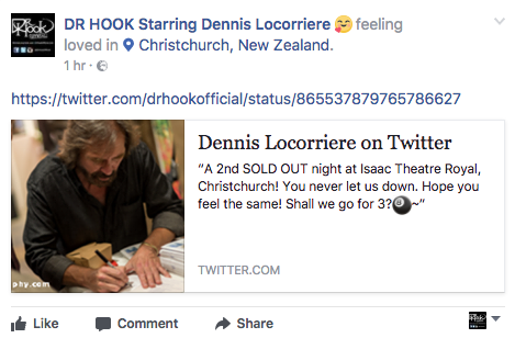 Dr Hook's Dennis Locorriere on Christchurch, New Zealand 19.05.17